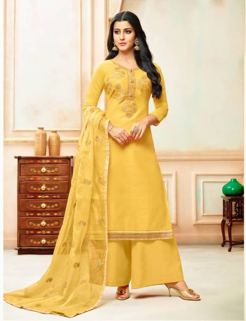 Chanderi Cotton Yellow Embroidered Unstitched Straight Palazzo Suit