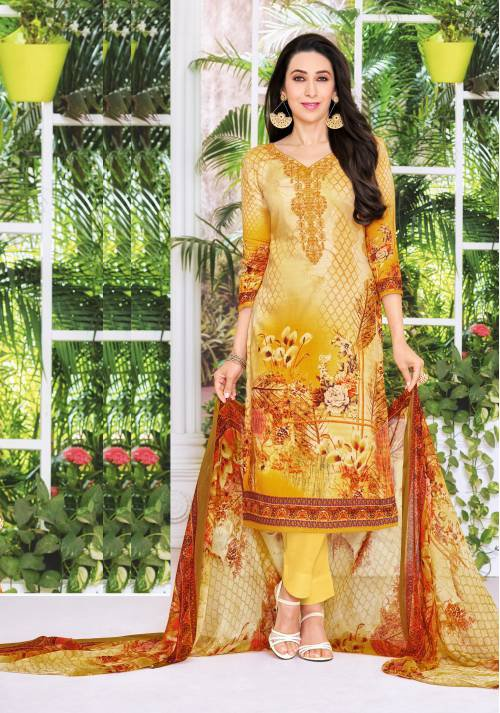 Craftsvilla Yellow Cotton Blend Resham Embroidery Unstitched Straight Suit
