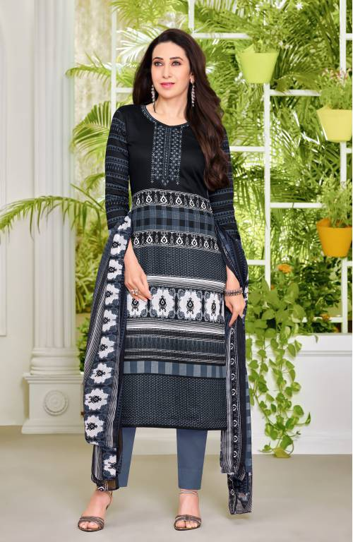 Grey Cotton Blend Resham Embroidery Unstitched Straight Suit