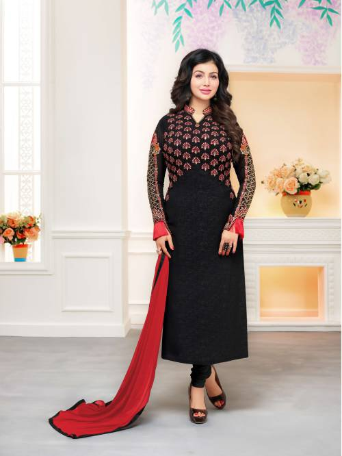 Craftsvilla Black Color Georgette Resham Embroidery Unstitched Salwar Suit