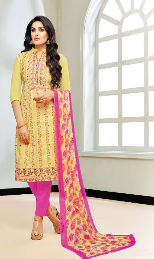 Yellow Chanderi Silk Embroidered Unstitched Straight Suit