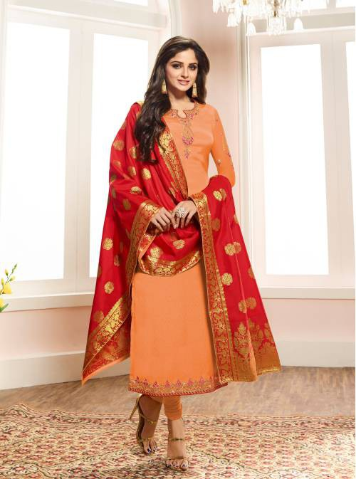 Orange Crepe Silk Embroidered Unstitched Straight Suit