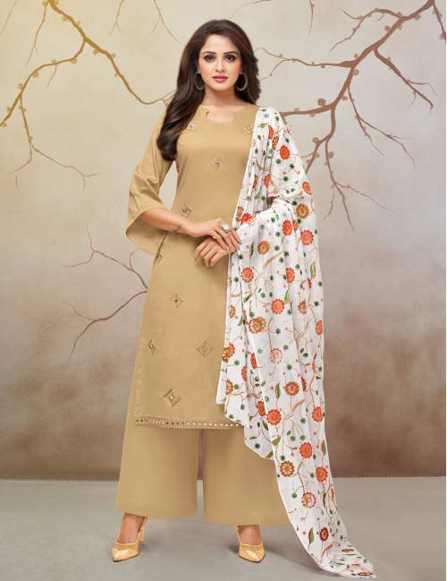 Beige Cotton Blend Embroidered Unstitched Straight Suit