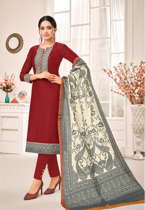 Maroon Cotton Blend Embroidered Unstitched Straight Suit