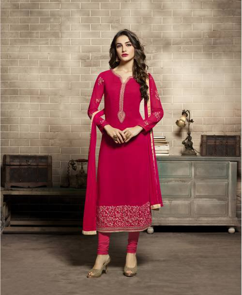 Red Color Georgette Embroidered Unstitched Straight Churidar Suit