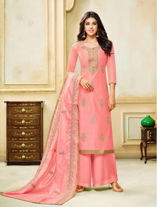 Chanderi Cotton Pink Embroidered Unstitched Straight Palazzo Suit
