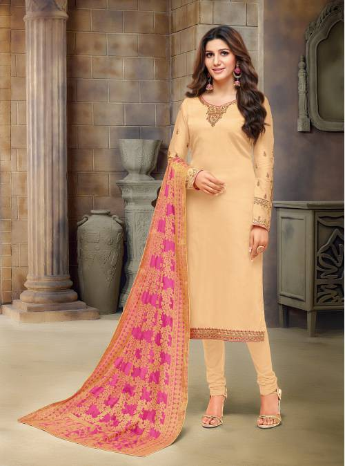 Craftsvilla Cream Cotton Blend Embroidered Semi-stitched Straight Suit