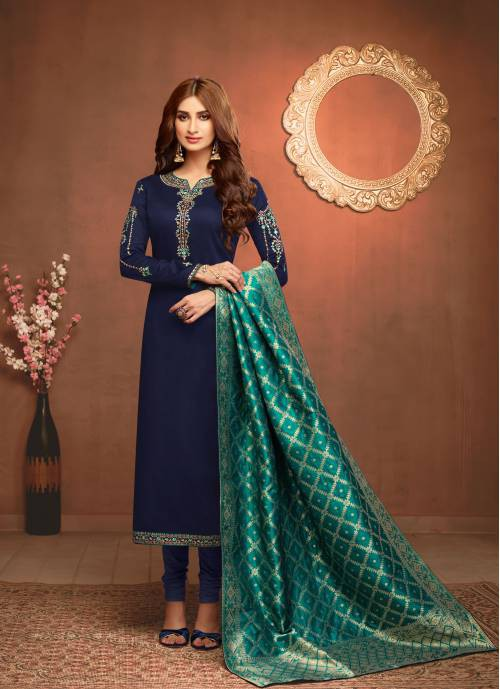 Navy Blue Cotton Blend Traditional Embroidered Unstitched Straight Suit