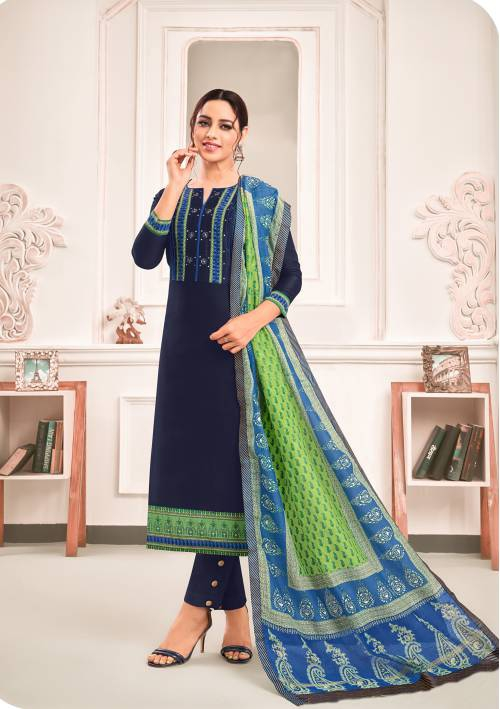 Blue Cotton Blend Embroidered Unstitched Straight Suit