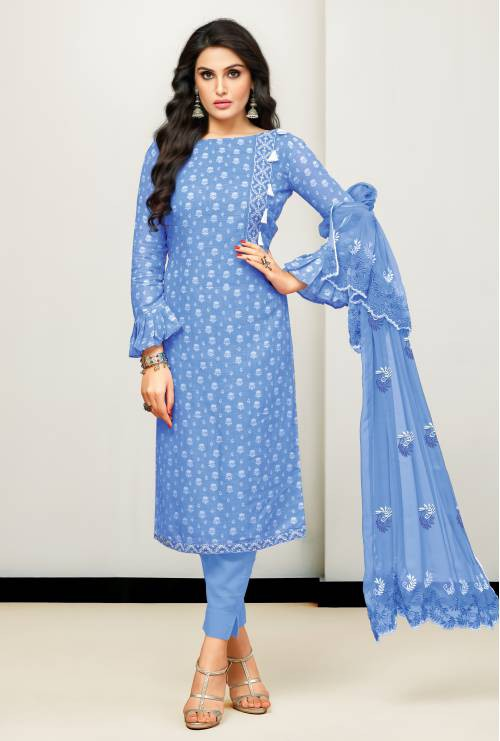 Blue Satin Cotton Printed Unstitched Straight Suit