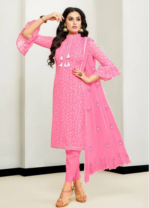 Pink Satin Cotton Printed Unstitched Straight Suit