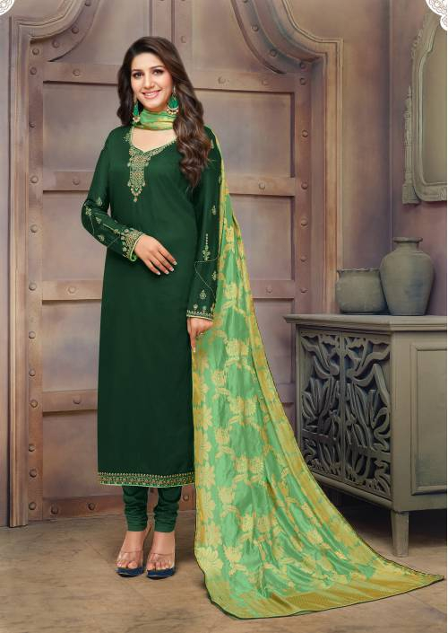 Green Cotton Blend Embroidered Semi-stitched Straight Suit