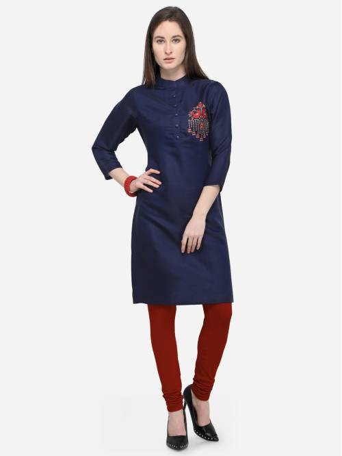 Navy Satin Embroidered Knee Length Straight Kurti