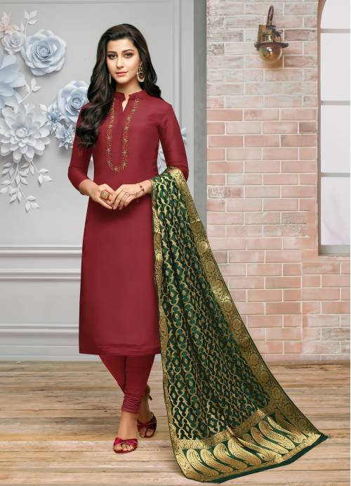 Craftsvilla Maroon Silk Blend Embroidered Unstitched Straight Suit