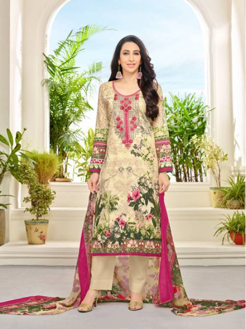 Craftsvilla Yellow Color Cotton Embroidered Unstitched Straight Suit