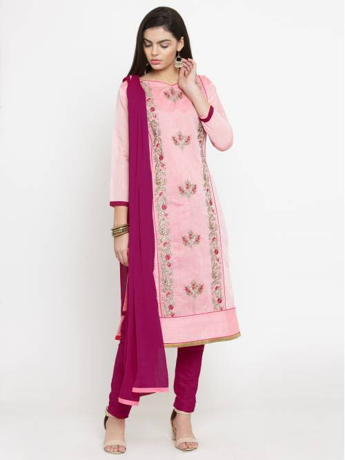 Pink Cotton Blend Traditional Embroidered Unstitched Straight Suit