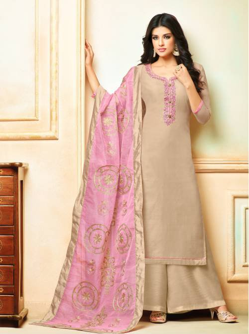 Craftsvilla Chanderi Cotton Beige Embroidered Unstitched Straight Palazzo Suit
