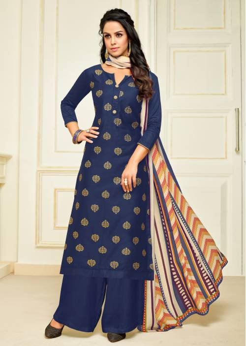 Craftsvilla Cotton Blend Blue Embellished Unstitched Straight Palazzo Suit