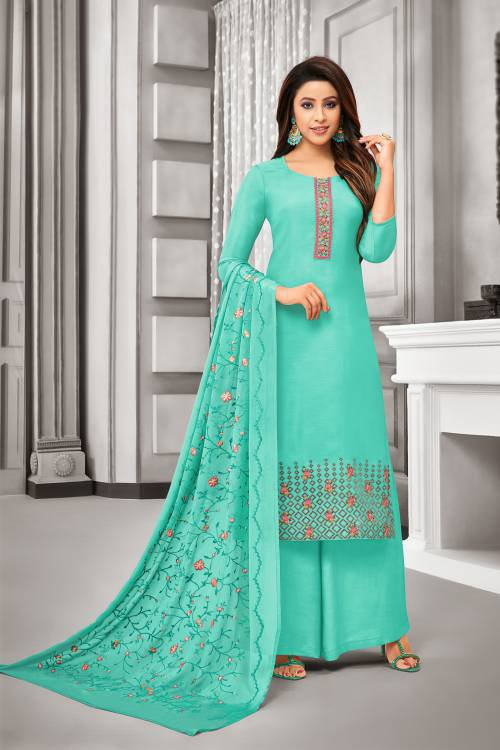 Turquoise Silk Blend Embroidered Unstitched Straight Suit