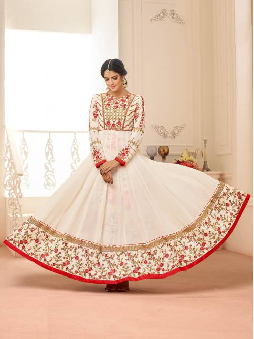Craftsvilla White And Red Color Georgette Embroidered Unstitched Circular Anarkali Suit