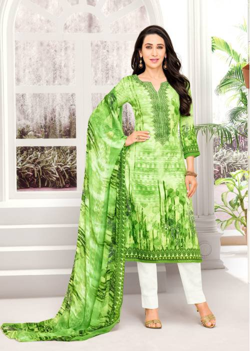 Green Cotton Blend Resham Embroidery Unstitched Straight Suit