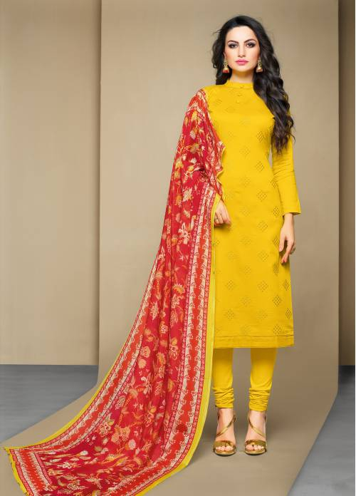Yellow Cotton Blend Traditional Embroidered Unstitched Straight Suit