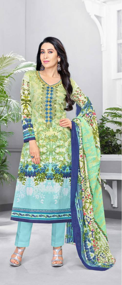 Craftsvilla Light Green Color Glaze Cotton Resham Embroidery Unstitched Salwar Suit