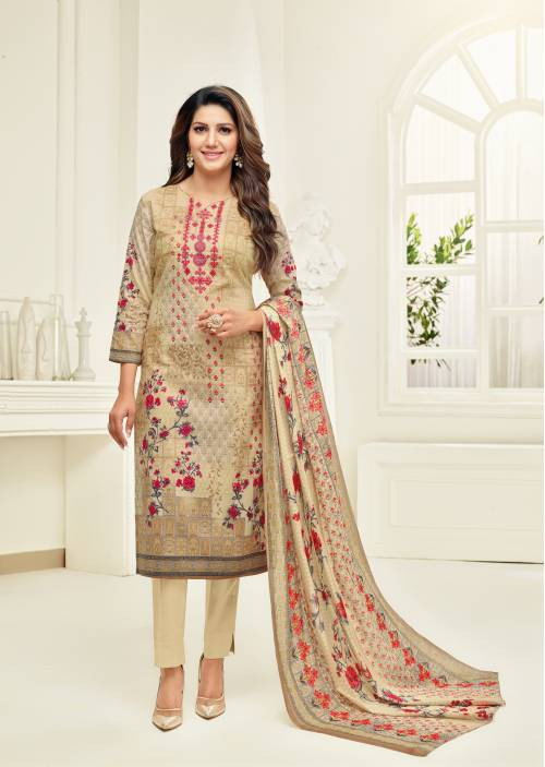 Beige Cotton Blend Printed Unstitched Straight Suit