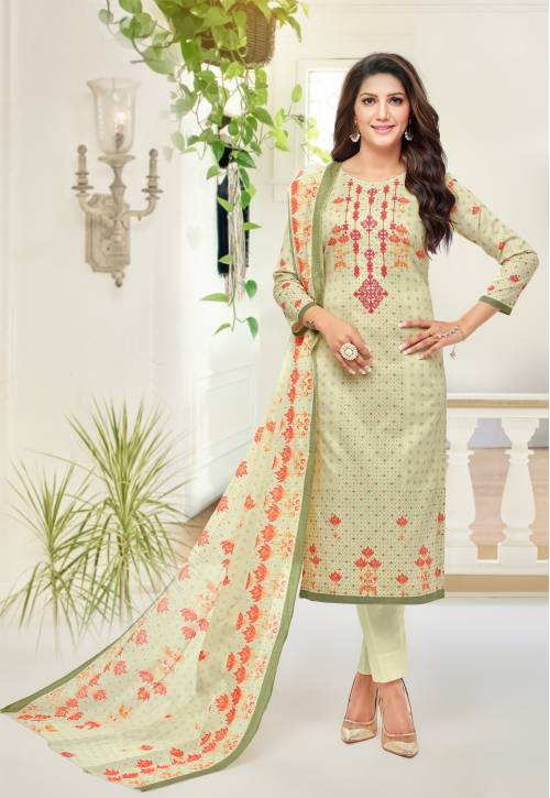Pista Green Cotton Blend Printed Unstitched Straight Suit