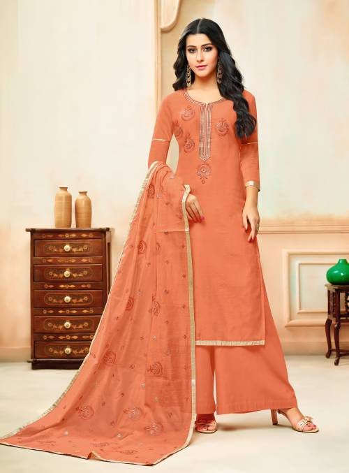 Craftsvilla Chanderi Cotton Peach Embroidered Unstitched Straight Palazzo Suit