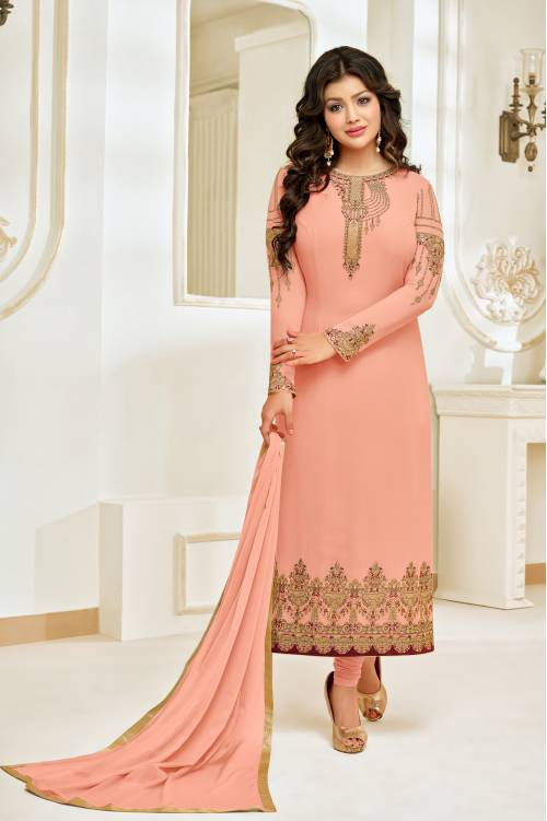 Peach Georgette Resham Embroidery Semi-stitched Straight Suit