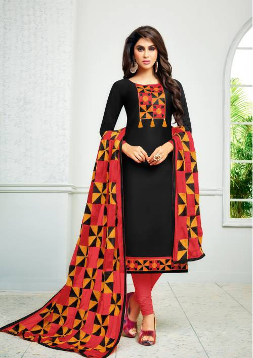 Black Color Cotton Embroidered Unstitched Straight Suit