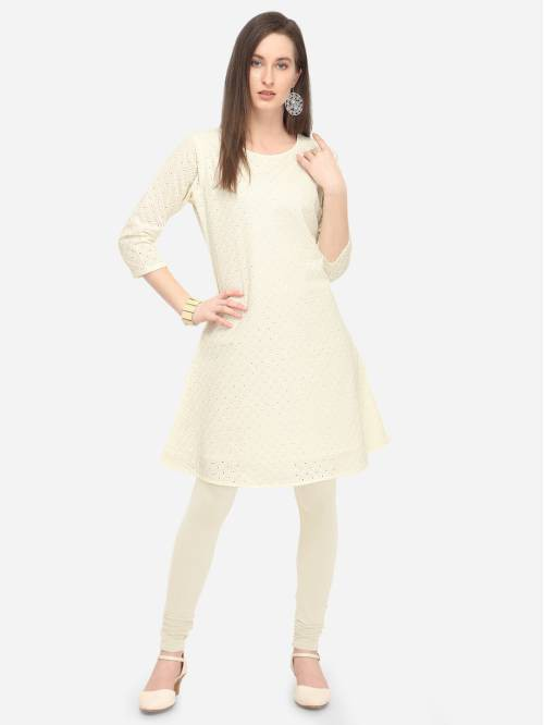 Off White Cotton Embroidered Knee Length A Line Style Kurti