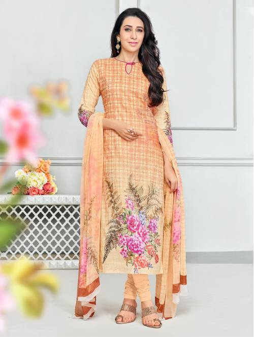 Craftsvilla Orange Glaze Cotton Printed & Aari Work Women\'s Salwar Suit