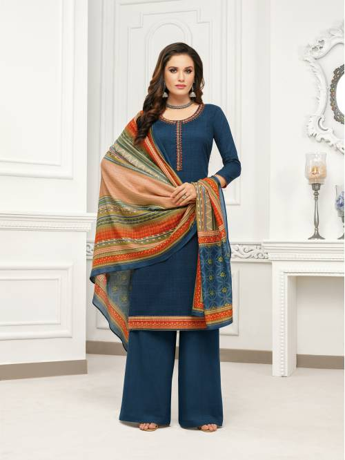 Blue Cotton Blend Traditional Printed Unstitched Straight Suit