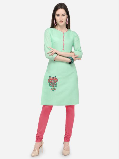 Green Satin Embroidered Knee Length Straight Kurti