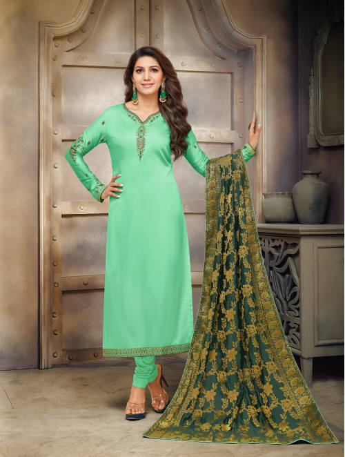 Craftsvilla Turquoise Cotton Blend Embroidered Semi-stitched Straight Suit
