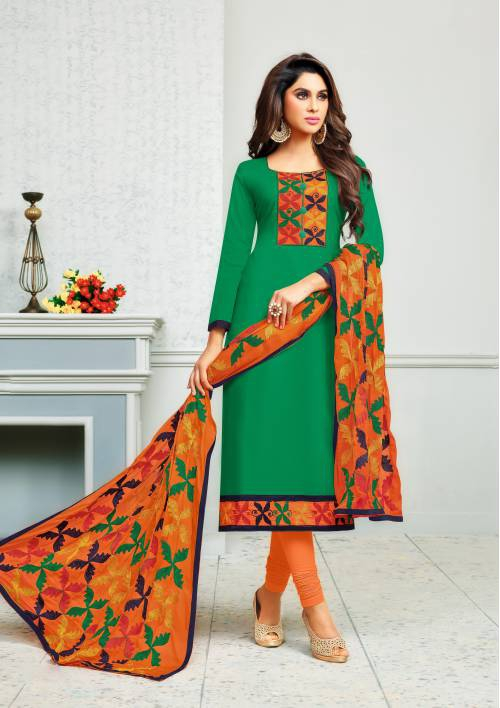 Green Color Cotton Embroidered Unstitched Straight Suit