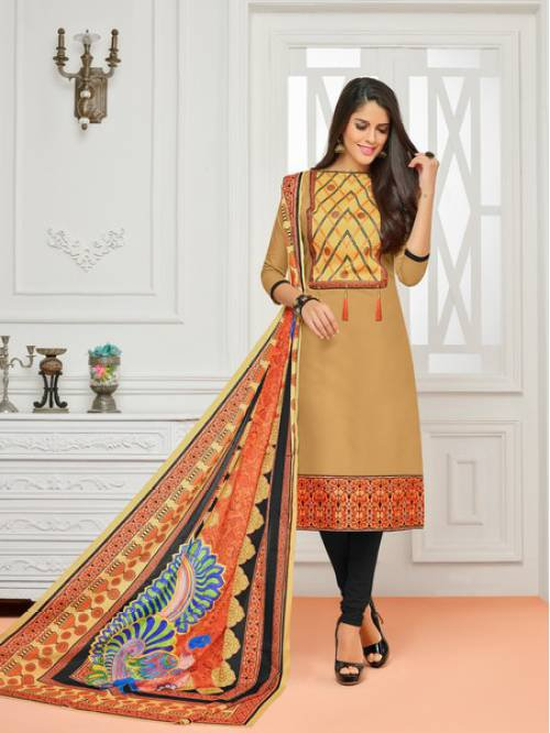 Beige Color Cotton Printed Unstitched Straight Suit