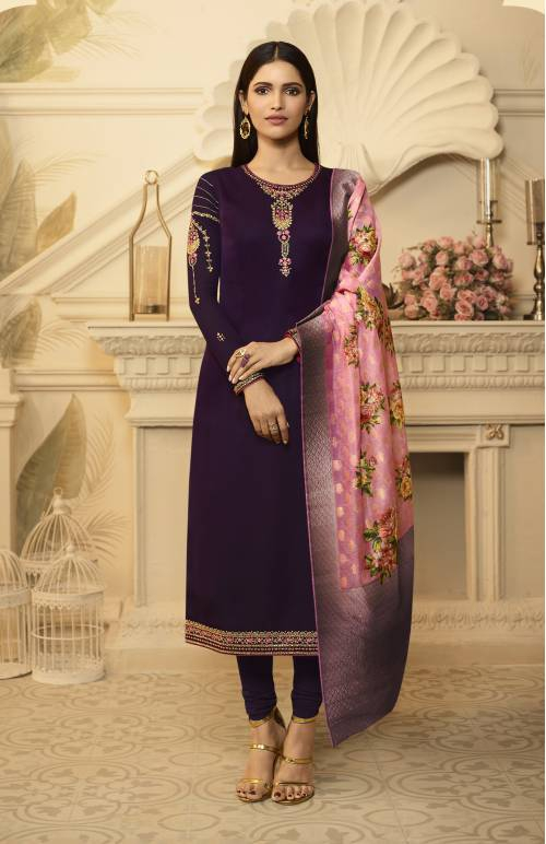 Magenta Georgette Embellished Unstitched Straight Suit With Banarasi Silk Dupatta