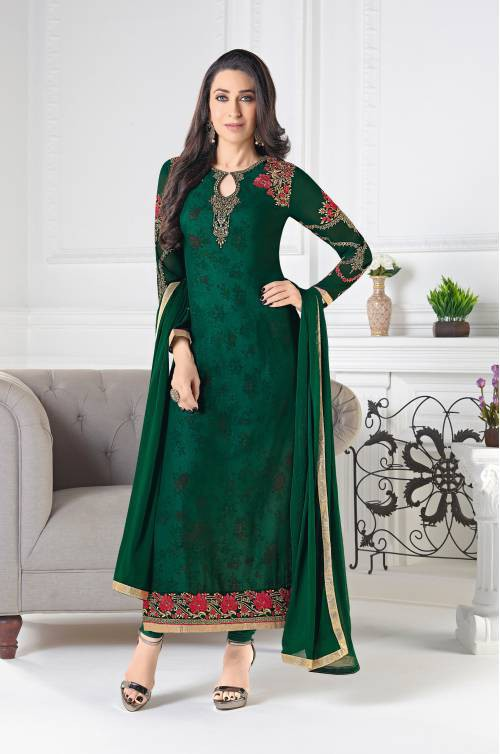 Green Georgette Embroidered With Printed Inner Salwar Kameez Dupatta Material