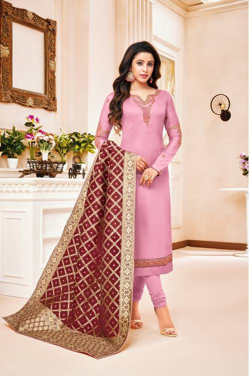 Pink Cotton Blend Embroidered Unstitched Straight Suit