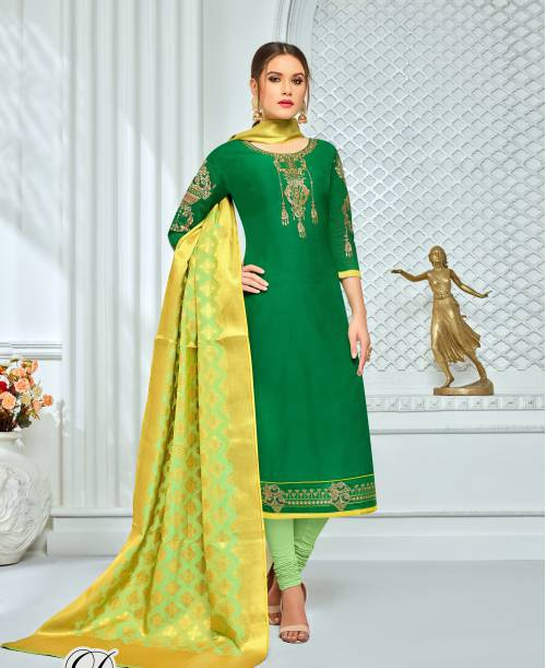 Craftsvilla Green Color Chanderi Cotton Embroidered Unstitched Straight Suit With Banarasi Dupatta
