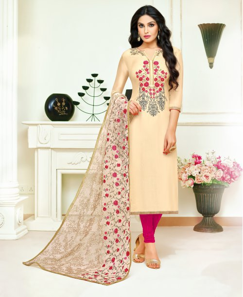 Cream Silk Blend Embroidered Unstitched Straight Suit