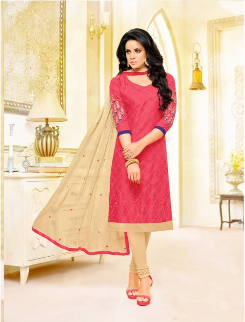 Pink Color Cotton Embroidered Unstitched Straight Suit