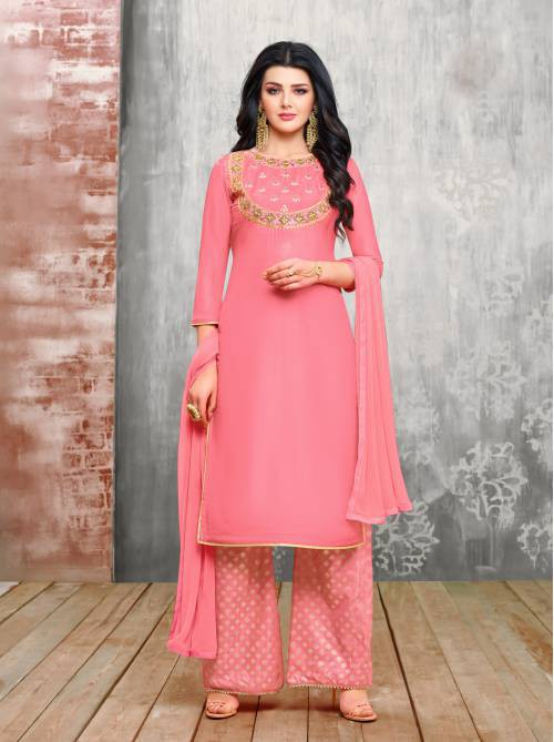 Craftsvilla Pink Silk Blend Embellished Semi-stitched Palazzo Suit
