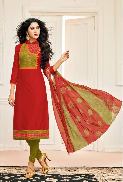 Craftsvilla Red Color Chanderi Cotton Embroidered Salwar Kameez Dupatta Material