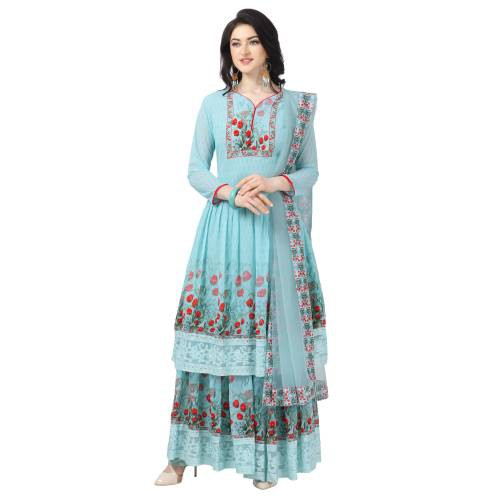 Sky Blue Georgette Printed Semi Stitched Sharara  Suit