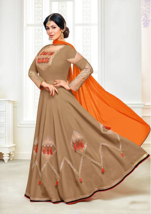 Beige Georgette Heavy Embroidered Semi Stitched Anarkali Suit