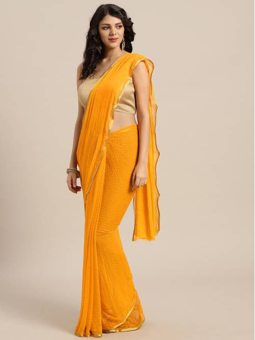 Yellow Chiffon Saree With Unstitched Blouse Material